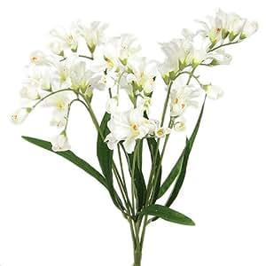 21 ELEGANT FREESIA SILK FLOWERS SPRAY WEDDING CREAM 073