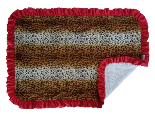 Patricia Ann Designs Satin Ruffled Trim Cheetah/Natural Cuddle Indulgence Blanket, Tan, Brown, Red