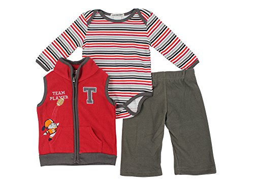 Alfa Global Baby-Boys Infant Three-Piece Micro-Fleece Set Red 6-9 Months front-308118