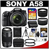 Sony Alpha SLT-A58 Translucent Mirror Technology Digital SLR Camera Body & 18-55mm Lens with 75-300mm Lens + 32GB Card + Case + Battery + Tripod + Filters + Tele Wide Lens Kit