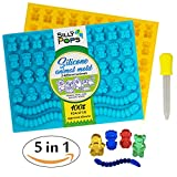 Gummy Bear Mold Bpa Free Silicone (Yellow, Blue) - Set of 2 for 86 Candies - 5 Different Types of Animals - Dropper Included - Candy Molds, Gummy Worm Mold, Chocolate Molds, Gelatin Molds, Ice Cube