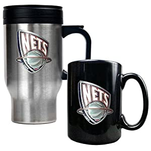 NBA New Jersey Nets Stainless Steel Travel Mug & Black Ceramic Mug Set - Primary... by Great American Products