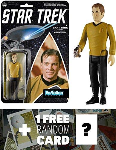 Kirk: Funko ReAction x Star Trek Action Figure + 1 FREE Official Star Trek Trading Card Bundle (46835)