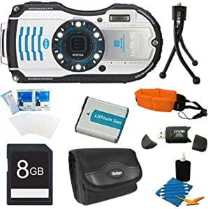Pentax Optio WG-3 White 16 MP Digital Camera (White) Premiere Bundle Includes 8GB Memory Card, Reader, Battery, Case, Tripod, Floating Wrist Strap, Screen Protectors, & Lens Cleaning Kit. from Pentax