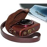 MegaGear Etui souple en cuir pour, Housse pour Canon Sx700 HS, Canon PowerShot SX710 HS (Brun Foncé)