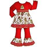 AnnLoren Little Girls Boutique Christmas Tree Floral Dress Set Outfit 6