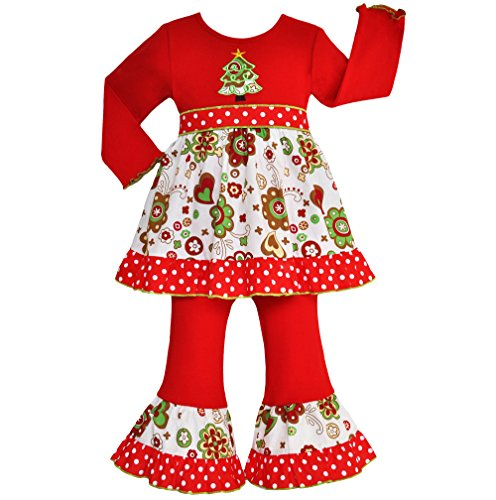 AnnLoren Girls - Boutique Christmas Tree Floral Dress set Clothing