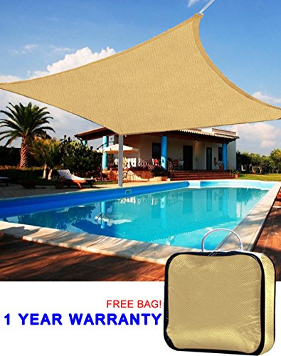 Quictent Rectangle 13'x10' Sun Sail Shade Patio Garden Canopy Top Cover 98% Uv-blocked ?Sand with Free Ropes and Carry Bag (Shade Cover compare prices)