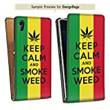 Design bag case for Huawei Ascend G DesignTasche Downflip white - Keep calm and smoke weed