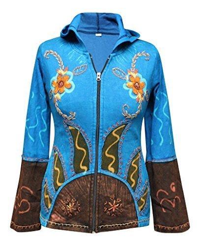 Shopoholic Moda Da Donna Sole Fiamme Hippie Goth Giacca con cappuccio Turquoise S / M
