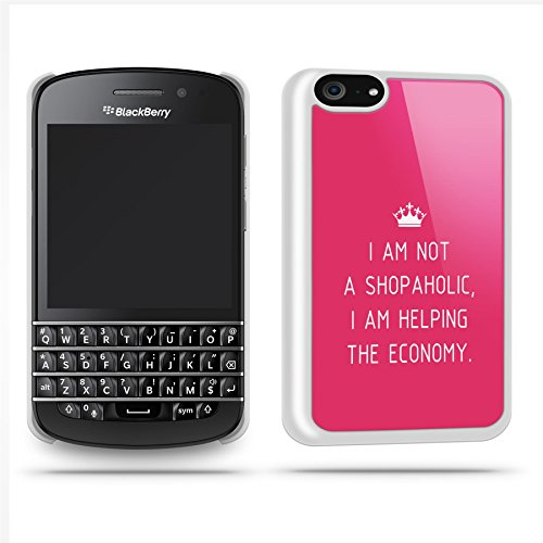 Shopaholic Quote Funny Joke Cute Haha Silly Phone Case Shell For Blackberry Q10 - White