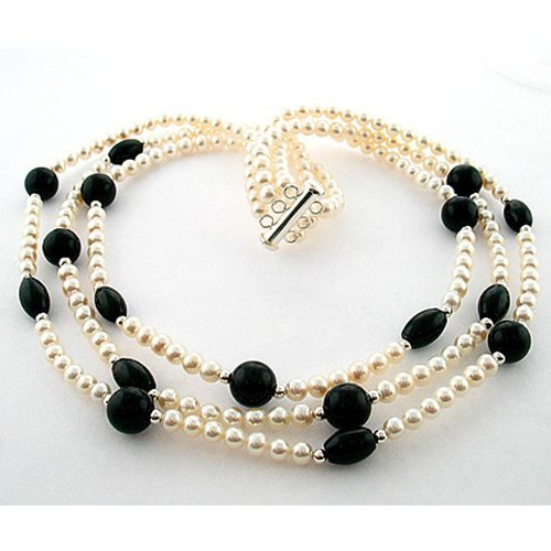 DaVonna Silver FW Pearl, Black Onyx and Agate Necklace (4-5 mm)