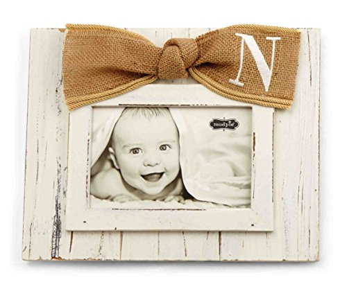 Mud Pie Planked Monogram Bow Frame, N
