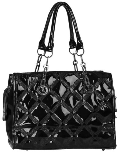 Classic Elegant Black Quilted PU Patent Leather Handbag Tote Shoulder Bag Purse w/Double Handles