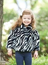Mud Pie Baby Girls\' Zebra Faux Fur Coat, Multi, 2T 3T