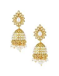 Gold & More White & Gold Jhumka Earrings