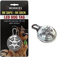 White led dog collar tag blinking light, Bennies World, LED Clip-On dog collar lights. Bright blinking led dog tag, 4 colors available