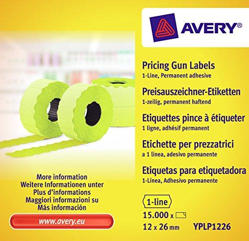 Avery Boîte de 10 rouleaux de 1500 Etiquettes 26 x 12 mm Jaune