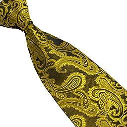 Sunward New Men\'s Tie Classic Paisley Mix Color Jacquard Woven Silk Necktie (Yellow)