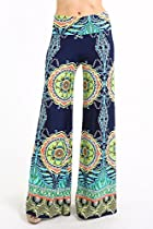 Uptown Apparel Womens Fold Over Waist Wide Leg Palazzo Pants (Navy Tribal, S)