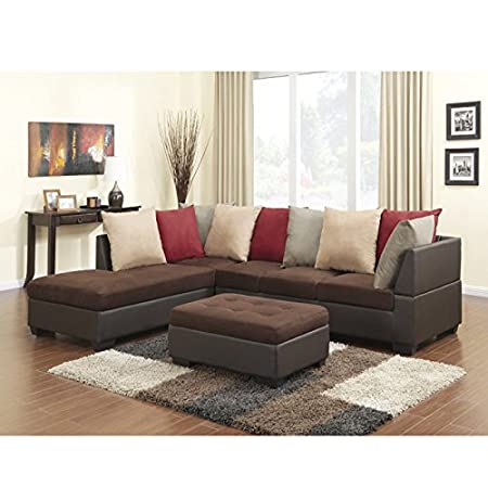 Global Furniture Microfiber Sectional Sofa, Chocolate PVC Finish