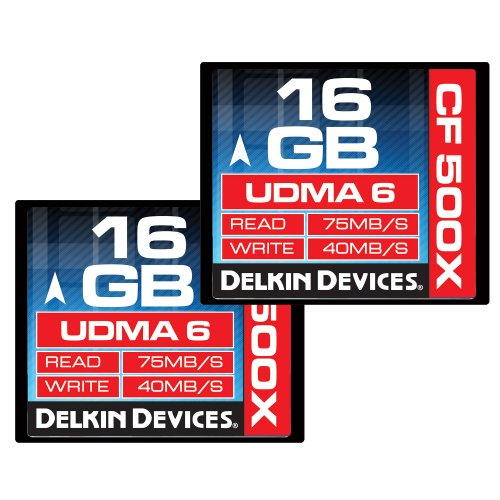 Delkin 16 GB CF 500X UDMA 6 Memory Card, 2 Pack (DDCF500-16 GB(2X16))