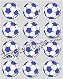 12 Blue Football rice paper cup cake toppers 40mm decoration Made By Simply Topps Lt