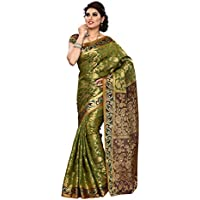 Mimosa Women Kanchipuram Art Silk Saree With Contrast Blouse (Multi-Coloured ,3168-140-OLIVE-MRN)