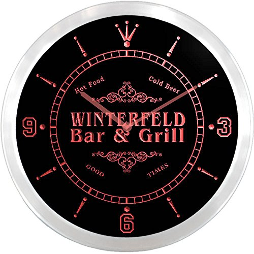 ncu48724-r WINTERFELD Family Name Bar & Grill Cold Beer Neon Sign LED Wall Clock