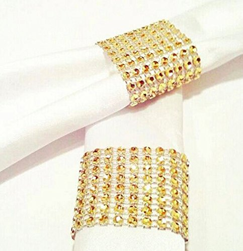 Carlie Napkin Rings Rhinestone Napkin Rings Adornment For Wedding Party (100 PCS, Gold)