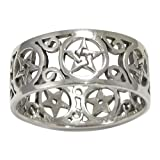 Sterling Silver Wide Filigree Pentacle Band Ring Size 11