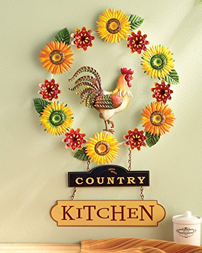 Country kitchen metal rooster wall decor 721246698744 - Rooster wall decor kitchen ...
