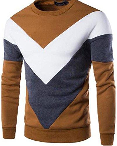jeansian Uomo Moda Colori Misti Felpa Pullover Maglietta Felpe Sweater Shirts 88F2 Camel S