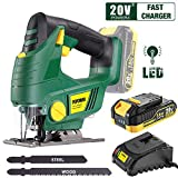 Cordless Jigsaw, POPOMAN 20V Jig Saw with LED Light, 2,000mAh Battery, 1H Fast Charger, 0 - 2,200SPM Adjustable Speed, -45°~ 45° Bevel Cutting, 2Pcs Blades for Wood, Plastic and Metal Cuts - MTW500B (Color: POPOMAN Cordless Jigsaw MTW500B - Green)