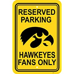Buy NCAA Iowa Hawkeyes 12-by-18 inch Plastic Parking Sign by BSI