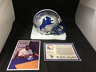 Barry Sanders Signed Autographed Inscribed THE LION KING Detroit Lions Mini Helmet With Custom Decals Schwartz Sports Sanders COA & Hologram