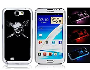 Call Flash Light Skull with Knife Pattern Protective Case for Samsung Note 2 Mobile Phones (Black)