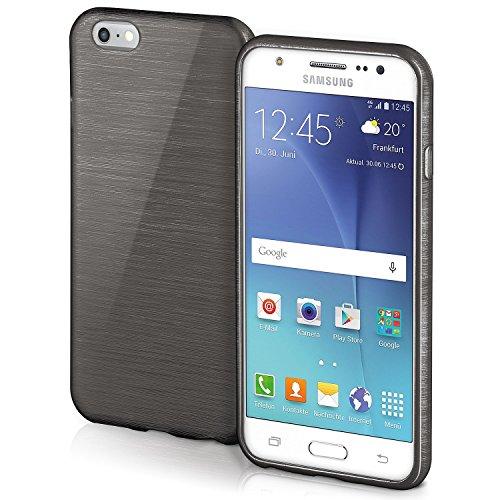 Cover di protezione Samsung Galaxy J5 Hülle Custodia Case silicone sottile 1,5mm TPU | Accessori Cover cellulare protezione | Custodia cellulare Paraurti Cover Spazzolata Look DEEP-BLACK