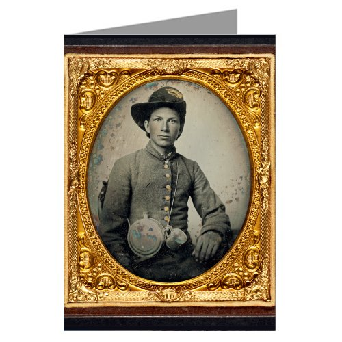 6-vintage-greeting-cards-of-confederate-young-soldier-in-uniform-and-hardee-hat-with-holster-revolve