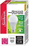 Sunbeam High Performance General Purpose A19 LED Bulb, 12 Watts (Equivalent to 60 Watts) 1 Pack