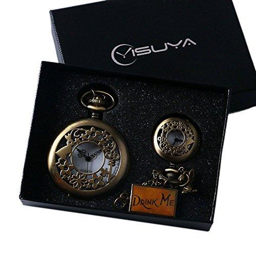YISUYA-Alice-in-Wonderland-Drink-Me-Small-Hollow-Rabbit-Bronze-Steampunk-Pocket-Watch-Clock-with-Chain