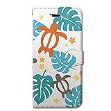 CollaBorn (コラボーン) iPhone6s iPhone6 4.7 インチ 手帳型ケース カバー ホヌ&モンステラ 革 / カード収納 / スタンド / スマホケース / 横開き 【 保護フィルム付 】