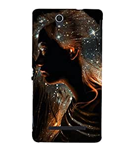 PrintVisa Glitter Silhouette Art Girl 3D Hard Polycarbonate Designer Back Case Cover for Sony Xperia C3 Dual