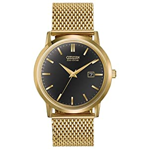 Citizen Men's BM7192-51E Mesh Collection Analog Display Japanese Quartz Gold Watch