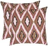 Safavieh Pillow Collection Diamond Ikat 18-Inch Decorative Pillows, Brown and Pink, Set of 2