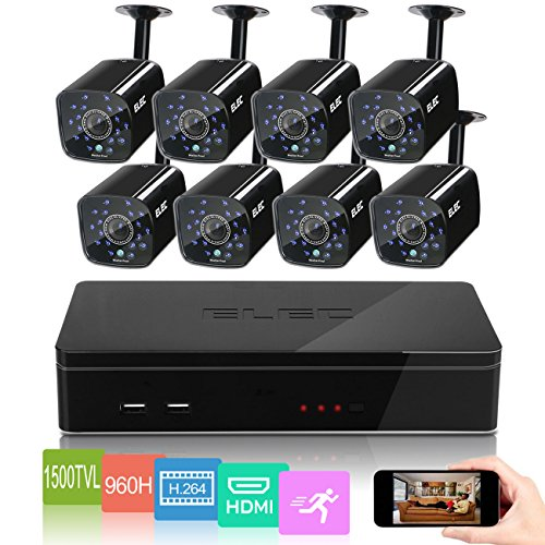 ELEC-8CH-HDMI-960H-DVR-1500TVL-Outdoor-Indoor-Day-Night-IR-CUT-CCTV-Surveillance-Home-Video-Security-Camera-System-Motion-Detection-Push-Alerts-QR-Code-Quick-Scan-Remote-Viewing-NO-Hard-Drive