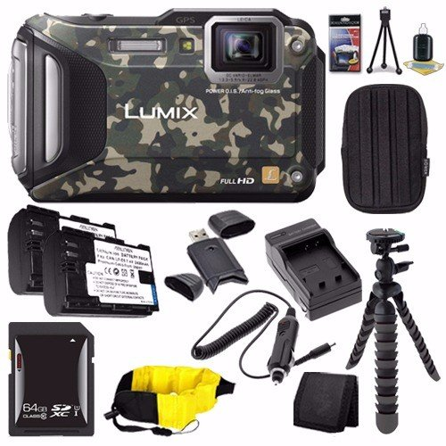Panasonic Lumix DMC-TS6Z Digital Camera (Camouflage) + DMW-BCM13 Replacement Li-on Battery + External Charger + 64GB SDXC Card + Small Case + Card Wallet Saver Bundle (Panasonic Sdxc 64gb compare prices)