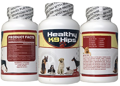 Healthy K9 Hips Glucosamine For Dogs Bacon Flavored 90 Chewable Tablets