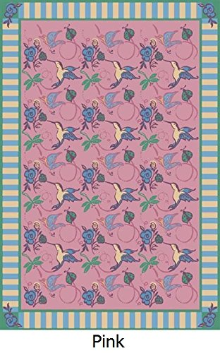 "Floral Fantasy & Hummingbirds Premium Cut Pile Stainmaster Nylon Area Rug (5'4""X7'8"", Rose) back-984557"