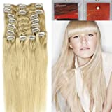 18 inch Full Head Clip in Human Hair Extensions. High quality Remy Hair 100g Weight 12 Colors (#60 platinum blonde)